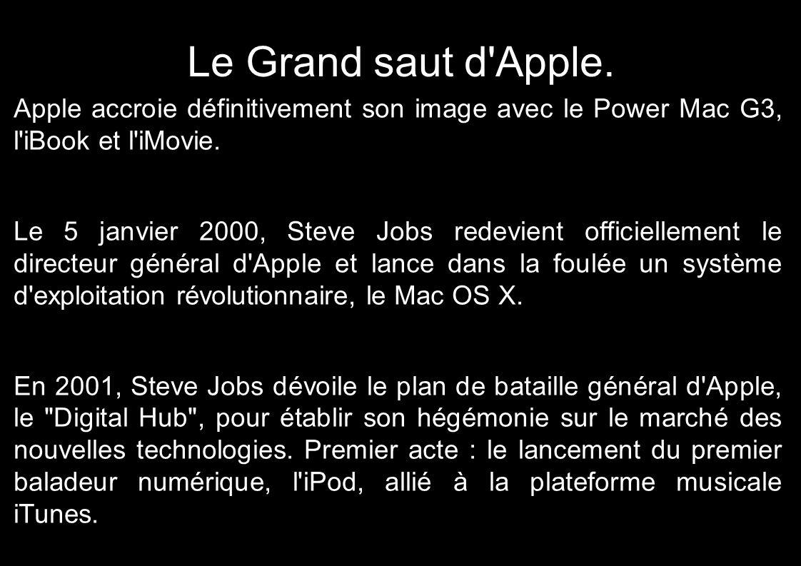 Le Grand saut d'Apple. Apple accroie définitivement son image avec le Power Mac G3, l'iBook et l'iMovie. Le 5 janvier 2000, Steve Jobs redevient offic