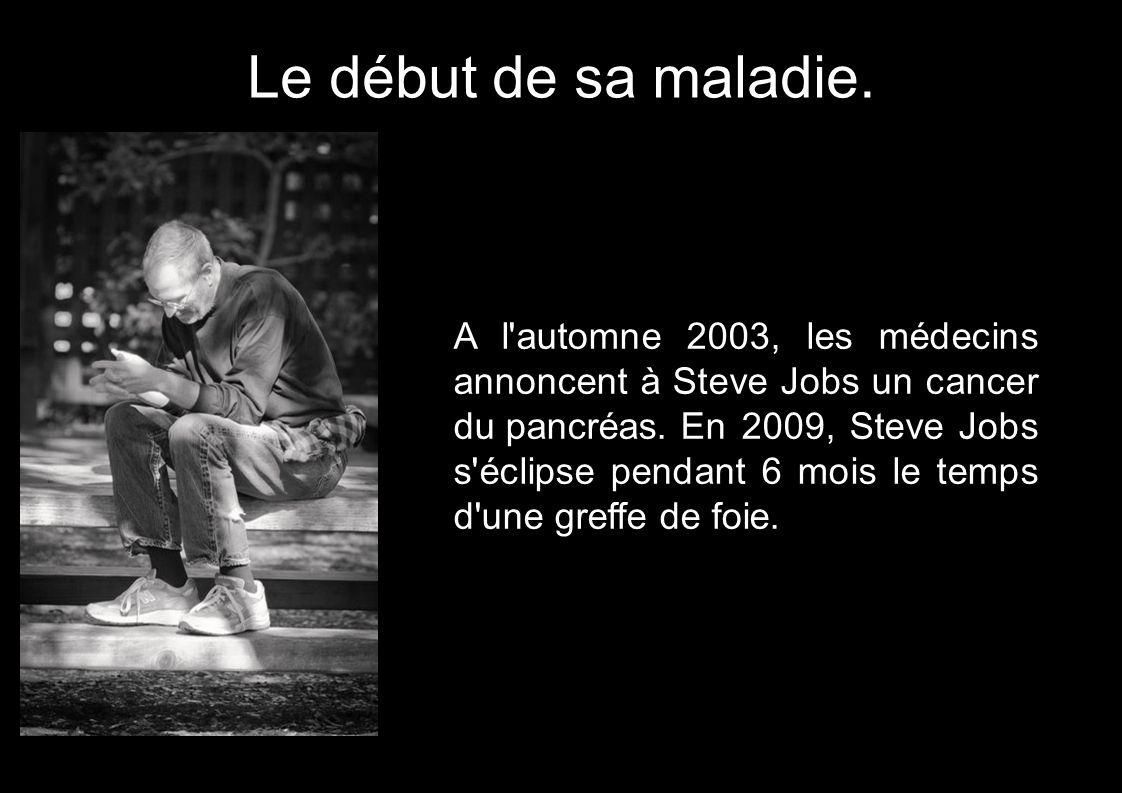 A l'automne 2003, les médecins annoncent à Steve Jobs un cancer du pancréas. En 2009, Steve Jobs s'éclipse pendant 6 mois le temps d'une greffe de foi