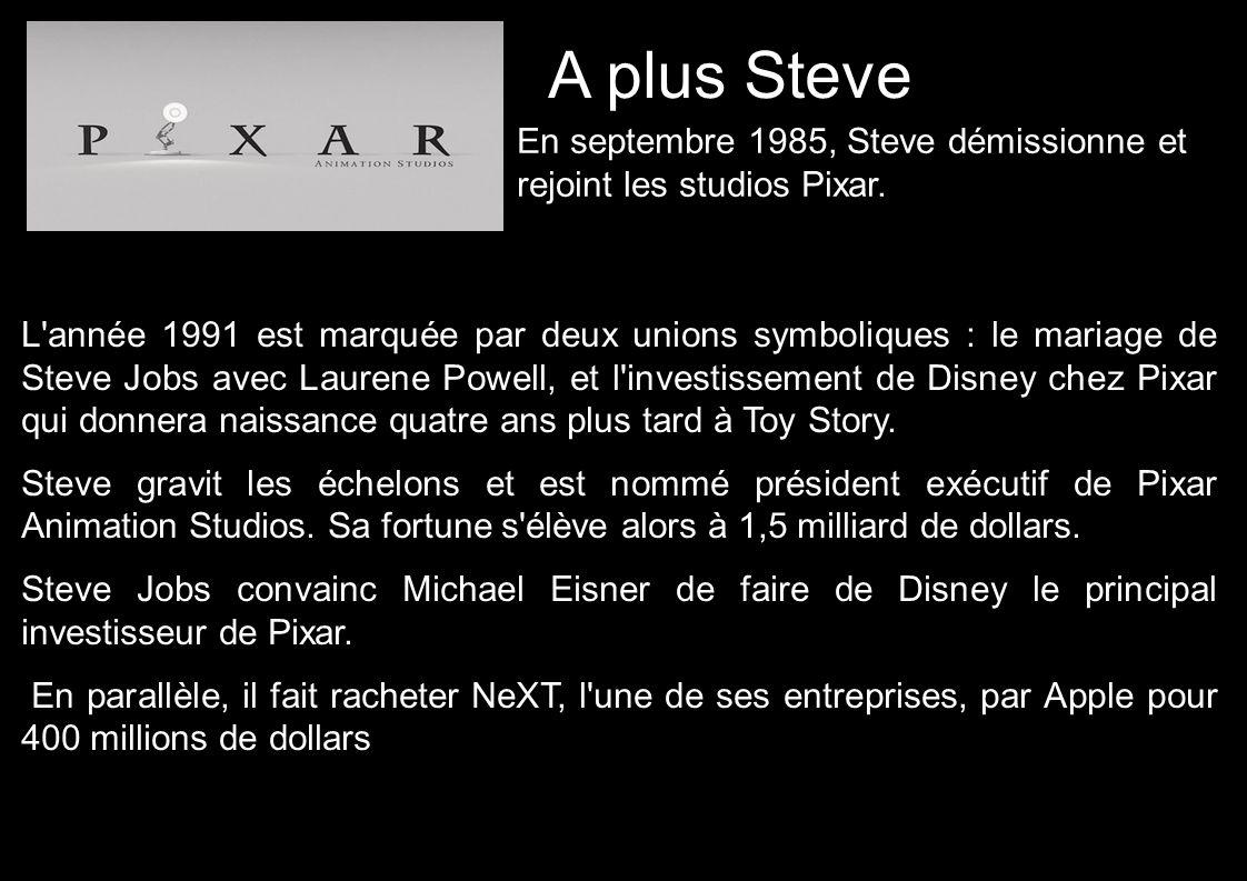 A plus Steve L année 1991 est marquée par deux unions symboliques : le mariage de Steve Jobs avec Laurene Powell, et l investissement de Disney chez Pixar qui donnera naissance quatre ans plus tard à Toy Story.