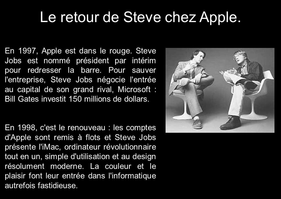 Le retour de Steve chez Apple. En 1997, Apple est dans le rouge. Steve Jobs est nommé président par intérim pour redresser la barre. Pour sauver l'ent