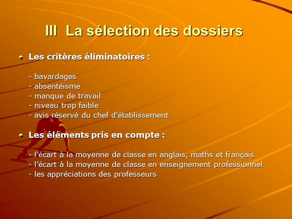 III La sélection des dossiers Les critères éliminatoires : - bavardages - absentéisme - manque de travail - niveau trop faible - avis réservé du chef
