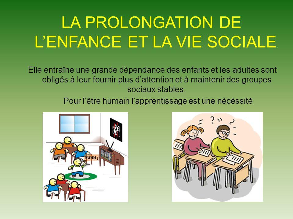 LA PROLONGATION DE LENFANCE ET LA VIE SOCIALE.
