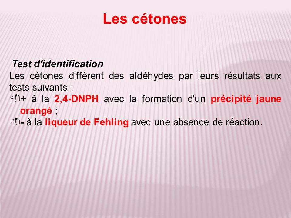 Test d'identification Les cétones diffèrent des aldéhydes par leurs résultats aux tests suivants : + à la 2,4-DNPH avec la formation d'un précipité ja