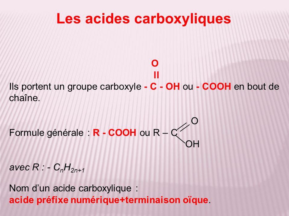 O ll Ils portent un groupe carboxyle - C - OH ou - COOH en bout de chaîne. O Formule générale : R - COOH ou R – C OH avec R : - C n H 2n+1 Nom dun aci