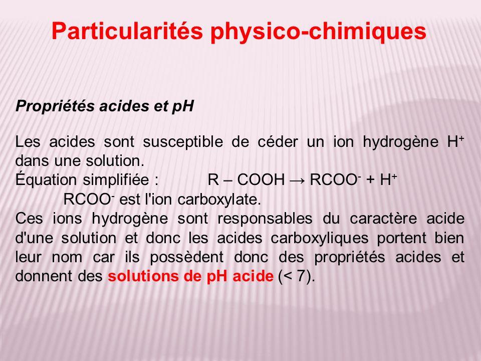 Propriétés acides et pH Les acides sont susceptible de céder un ion hydrogène H + dans une solution. Équation simplifiée :R – COOH RCOO - + H + RCOO -