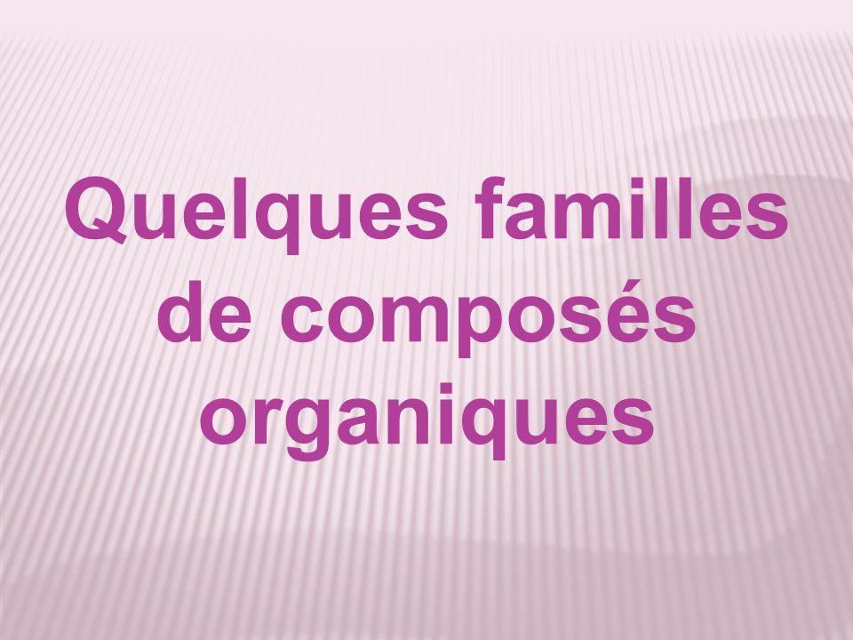 Quelques familles de composés organiques