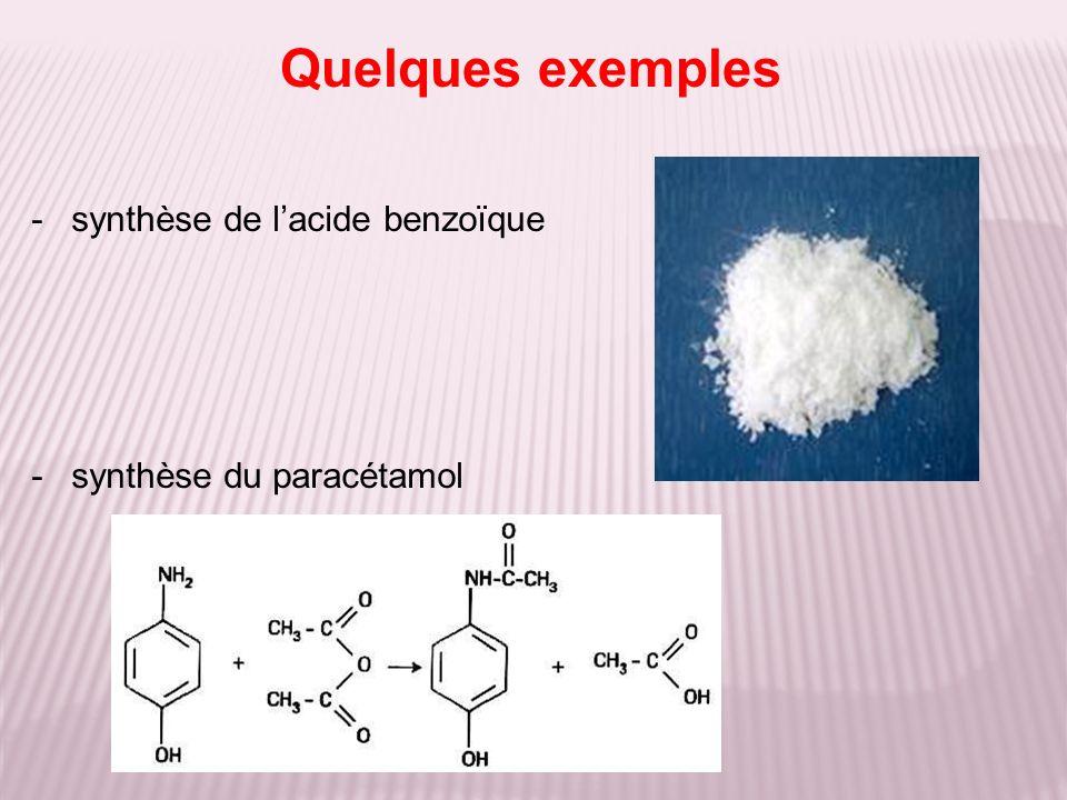 -synthèse de lacide benzoïque -synthèse du paracétamol Quelques exemples