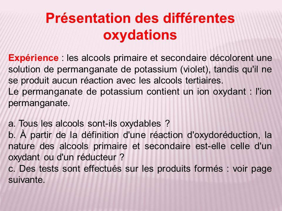 Expérience : les alcools primaire et secondaire décolorent une solution de permanganate de potassium (violet), tandis qu'il ne se produit aucun réacti