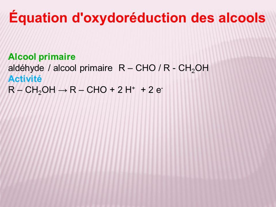 Alcool primaire aldéhyde / alcool primaireR – CHO / R - CH 2 OH Activité R – CH 2 OH R – CHO + 2 H + + 2 e - Équation d'oxydoréduction des alcools