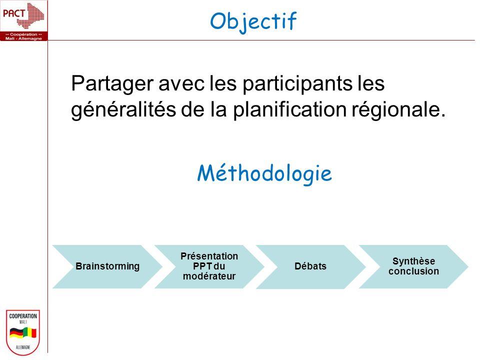Partager avec les participants les généralités de la planification régionale.