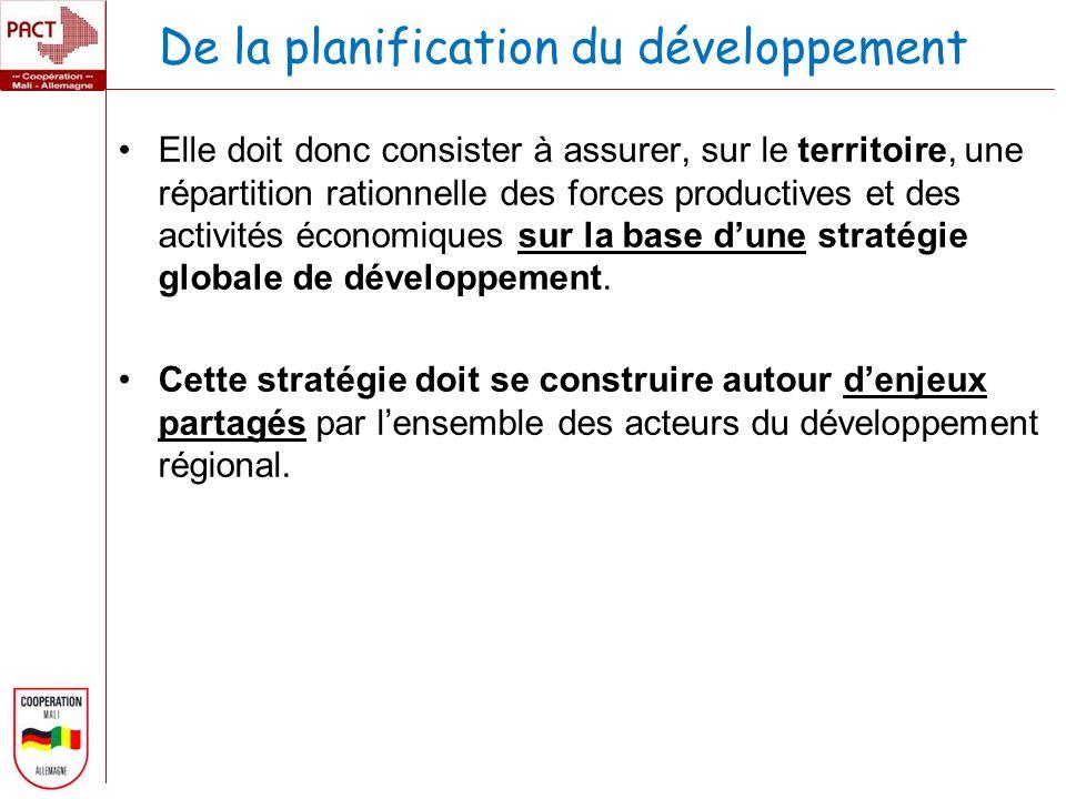 De la planification du développement Elle doit donc consister à assurer, sur le territoire, une répartition rationnelle des forces productives et des activités économiques sur la base dune stratégie globale de développement.