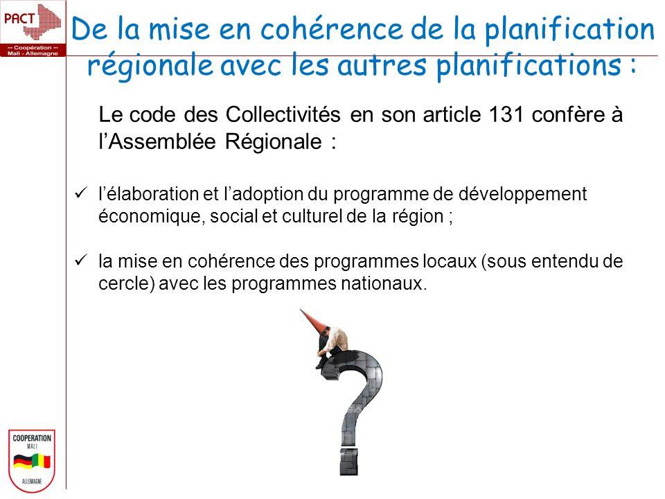 De la mise en cohérence de la planification régionale avec les autres planifications : Le code des Collectivités en son article 131 confère à lAssemblée Régionale : lélaboration et ladoption du programme de développement économique, social et culturel de la région ; la mise en cohérence des programmes locaux (sous entendu de cercle) avec les programmes nationaux.