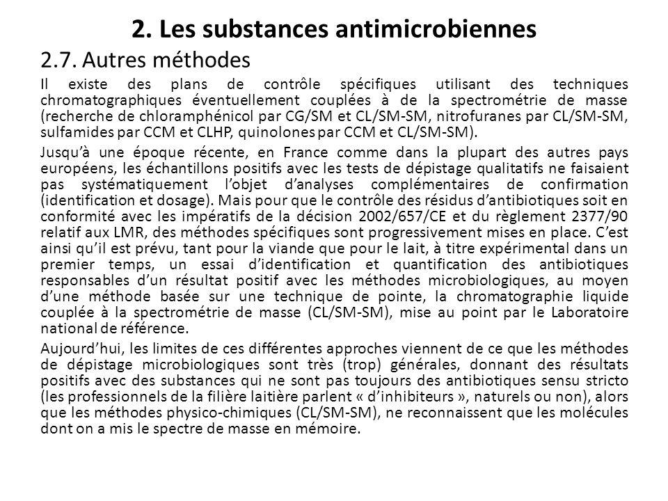 2. Les substances antimicrobiennes 2.7. Autres méthodes Il existe des plans de contrôle spécifiques utilisant des techniques chromatographiques éventu