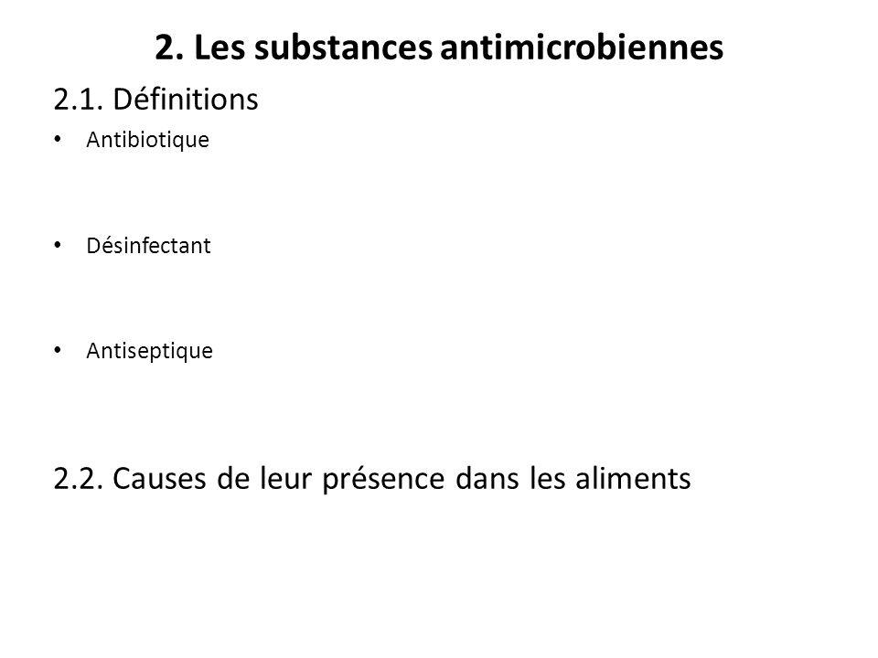 2. Les substances antimicrobiennes 2.1. Définitions Antibiotique Désinfectant Antiseptique 2.2. Causes de leur présence dans les aliments