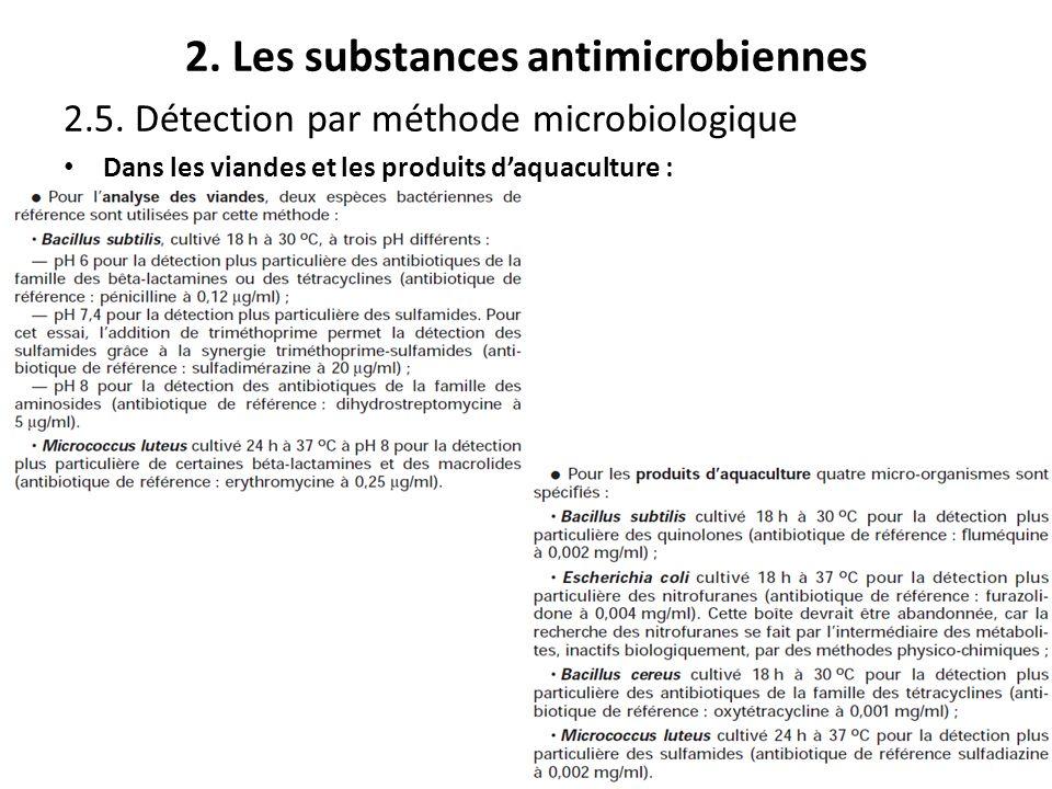 2. Les substances antimicrobiennes 2.5. Détection par méthode microbiologique Dans les viandes et les produits daquaculture :