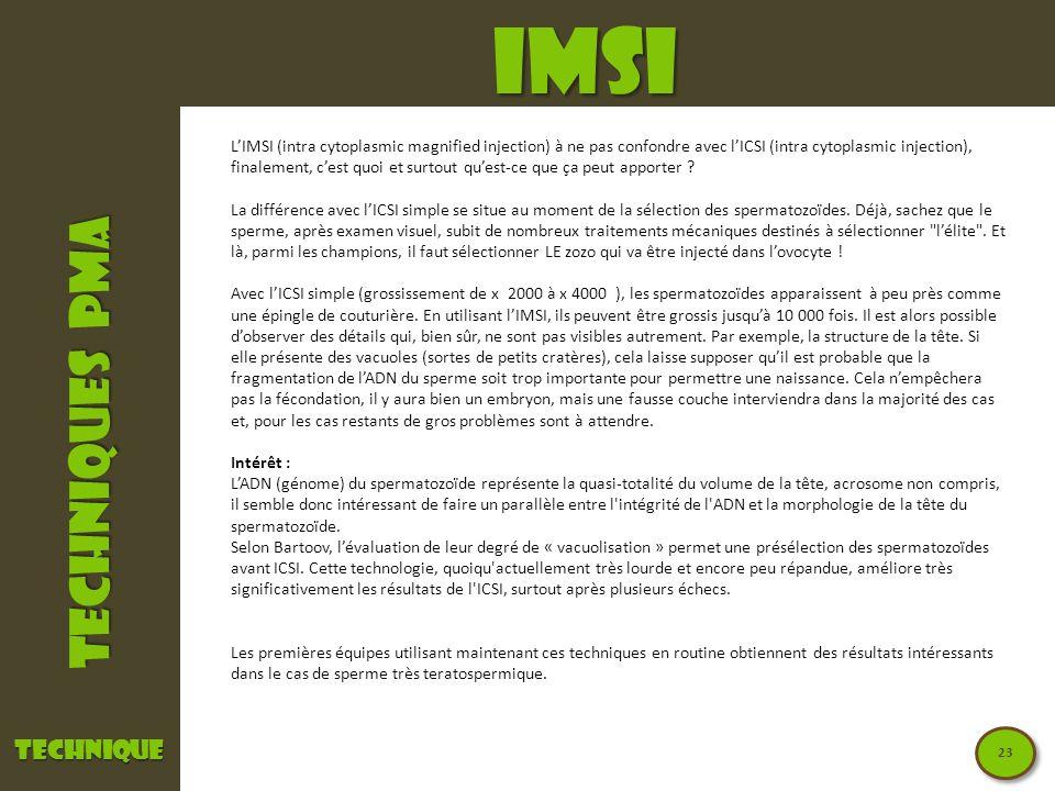 TECHNIQUES PMA IMSItechnique LIMSI (intra cytoplasmic magnified injection) à ne pas confondre avec lICSI (intra cytoplasmic injection), finalement, ce