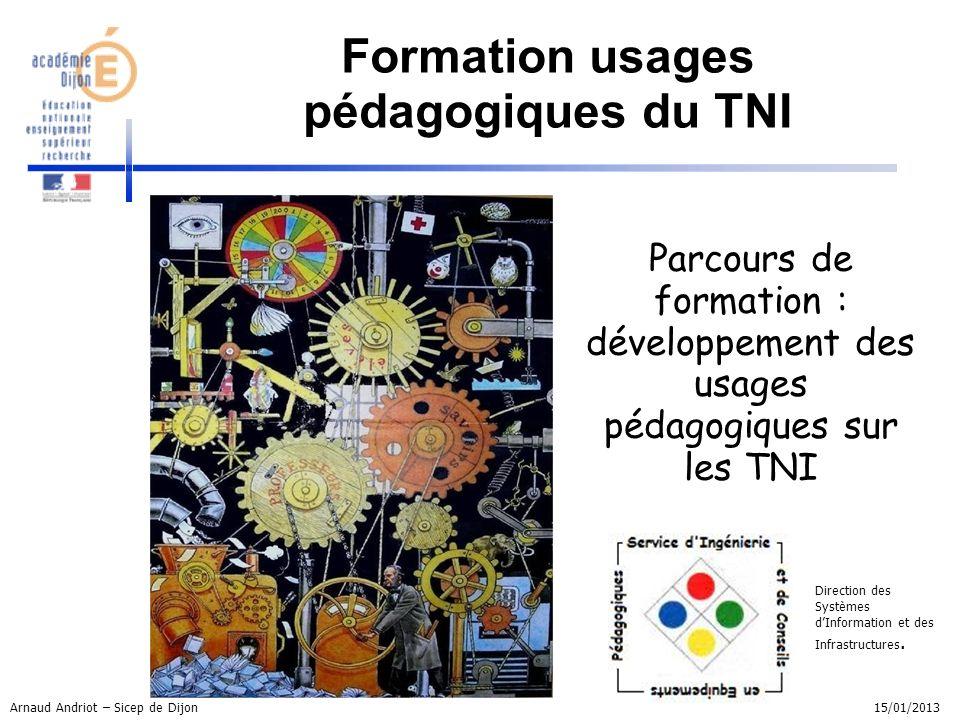 Parcours de formation : développement des usages pédagogiques sur les TNI Direction des Systèmes dInformation et des Infrastructures. Formation usages