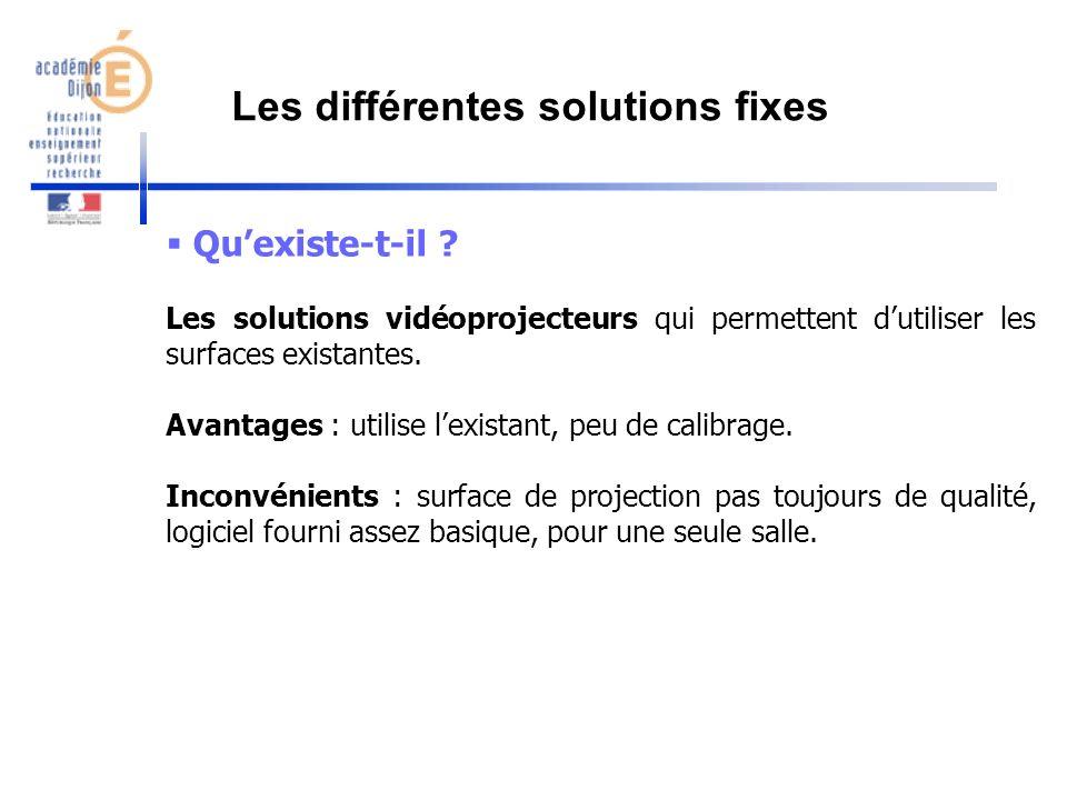 Quexiste-t-il ? Les solutions vidéoprojecteurs qui permettent dutiliser les surfaces existantes. Avantages : utilise lexistant, peu de calibrage. Inco