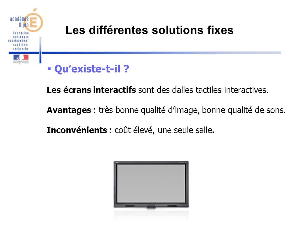 Quexiste-t-il ? Les écrans interactifs sont des dalles tactiles interactives. Avantages : très bonne qualité dimage, bonne qualité de sons. Inconvénie