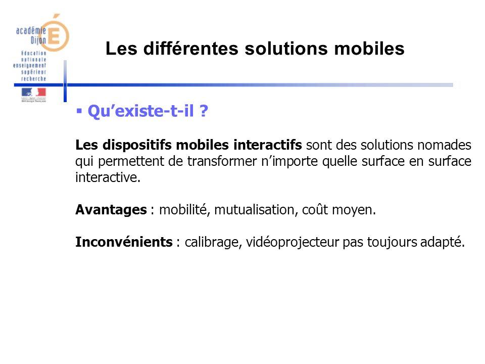 Quexiste-t-il ? Les dispositifs mobiles interactifs sont des solutions nomades qui permettent de transformer nimporte quelle surface en surface intera