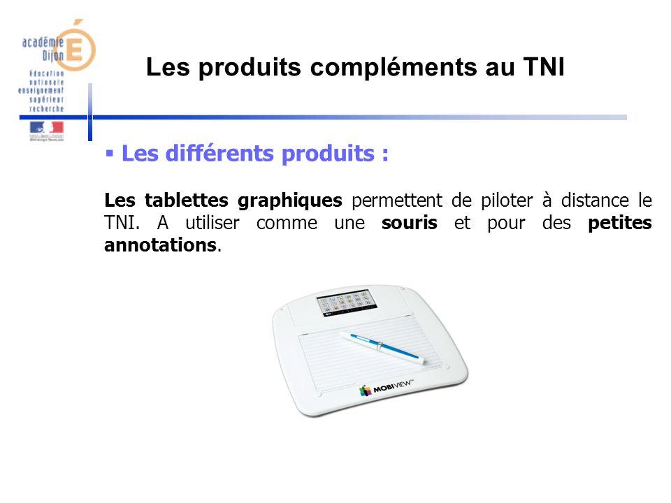 Les différents produits : Les tablettes graphiques permettent de piloter à distance le TNI. A utiliser comme une souris et pour des petites annotation