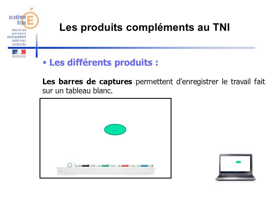 Les différents produits : Les barres de captures permettent denregistrer le travail fait sur un tableau blanc. Les produits compléments au TNI