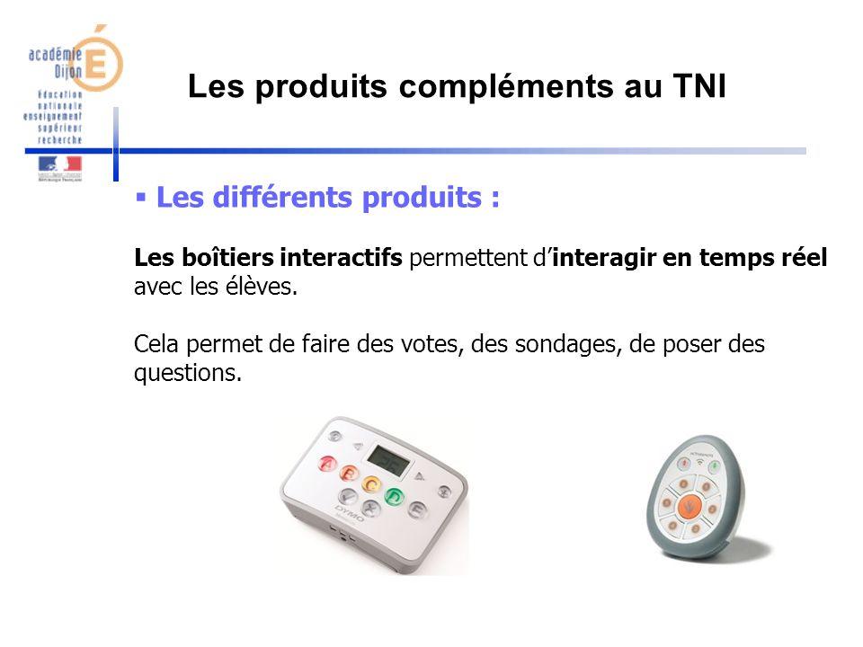 Les différents produits : Les boîtiers interactifs permettent dinteragir en temps réel avec les élèves. Cela permet de faire des votes, des sondages,