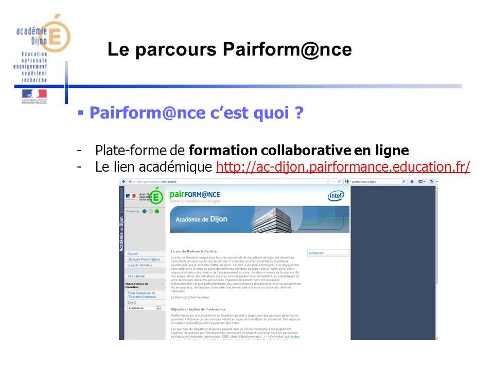 Pairform@nce cest quoi ? -Plate-forme de formation collaborative en ligne -Le lien académique http://ac-dijon.pairformance.education.fr/http://ac-dijo