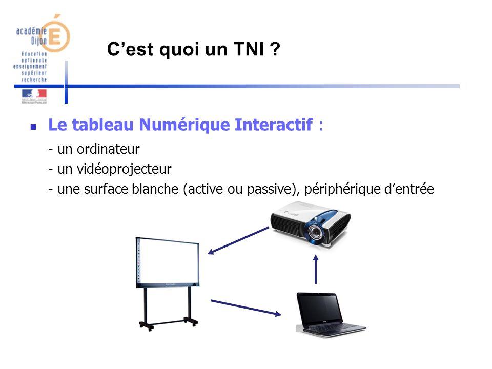 Cest quoi un TNI ? Le tableau Numérique Interactif : - un ordinateur - un vidéoprojecteur - une surface blanche (active ou passive), périphérique dent