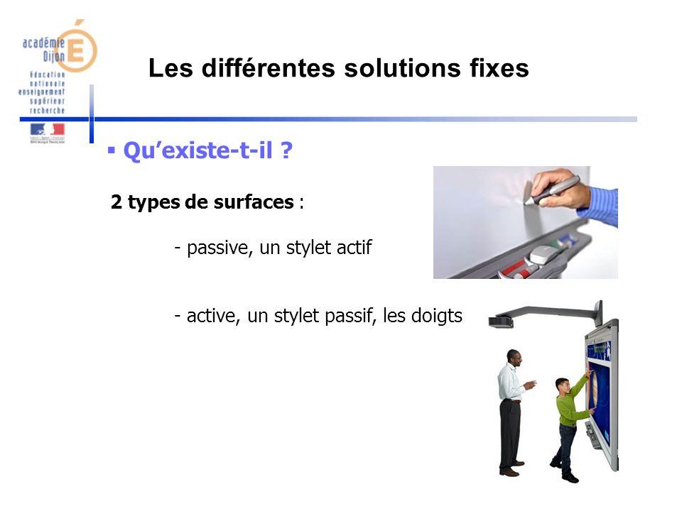 Quexiste-t-il ? 2 types de surfaces : - passive, un stylet actif - active, un stylet passif, les doigts Les différentes solutions fixes