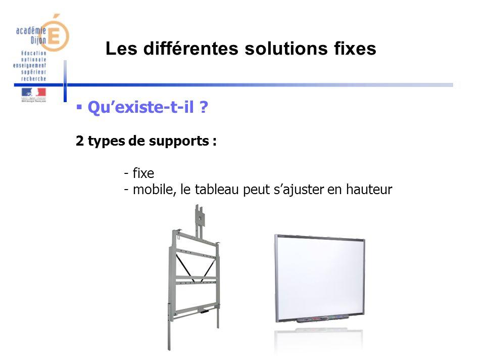 Quexiste-t-il ? 2 types de supports : - fixe - mobile, le tableau peut sajuster en hauteur Les différentes solutions fixes