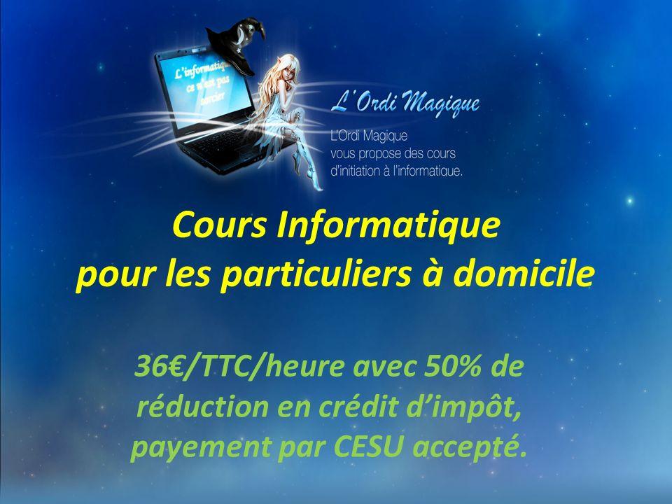Cours Informatique pour les particuliers à domicile 36/TTC/heure avec 50% de réduction en crédit dimpôt, payement par CESU accepté.