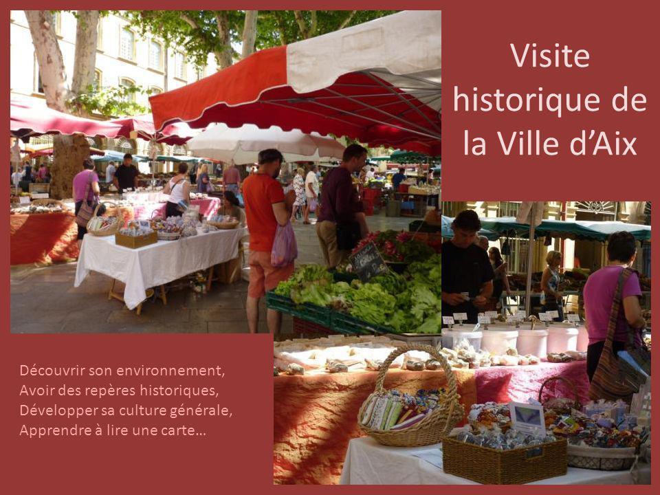 Visite historique de la Ville dAix Découvrir son environnement, Avoir des repères historiques, Développer sa culture générale, Apprendre à lire une ca