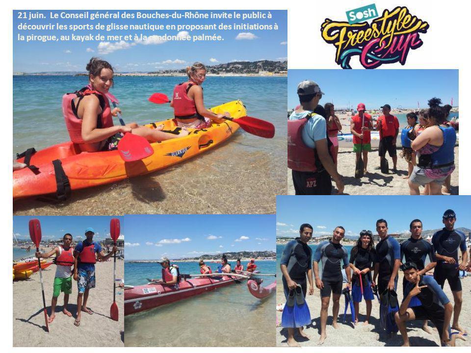 21 juin. Le Conseil général des Bouches-du-Rhône invite le public à découvrir les sports de glisse nautique en proposant des initiations à la pirogue,