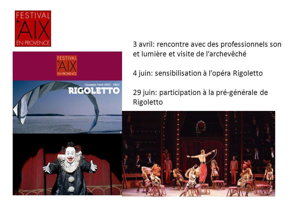3 avril: rencontre avec des professionnels son et lumière et visite de larchevêché 4 juin: sensibilisation à lopéra Rigoletto 29 juin: participation à