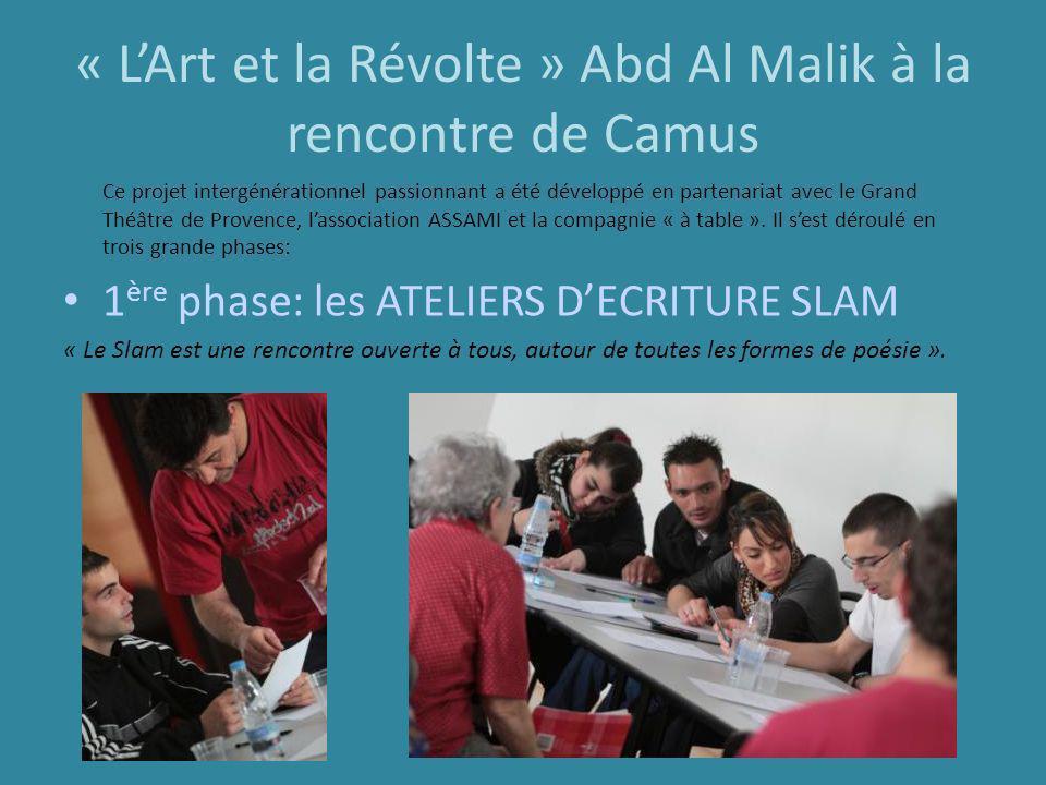 « LArt et la Révolte » Abd Al Malik à la rencontre de Camus Ce projet intergénérationnel passionnant a été développé en partenariat avec le Grand Théâ