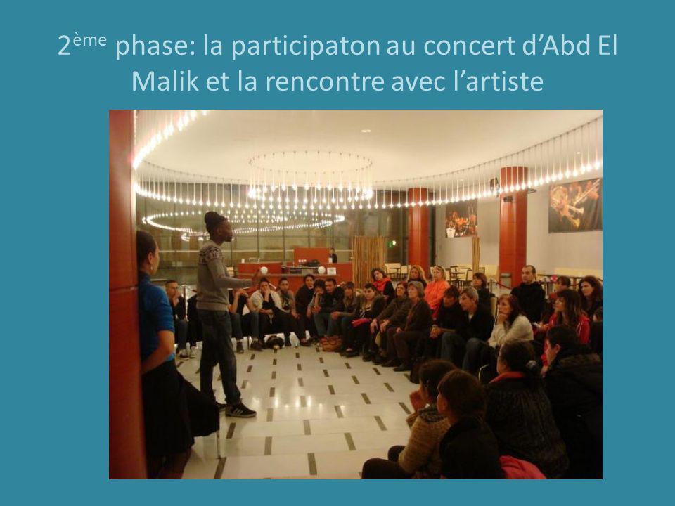2 ème phase: la participaton au concert dAbd El Malik et la rencontre avec lartiste
