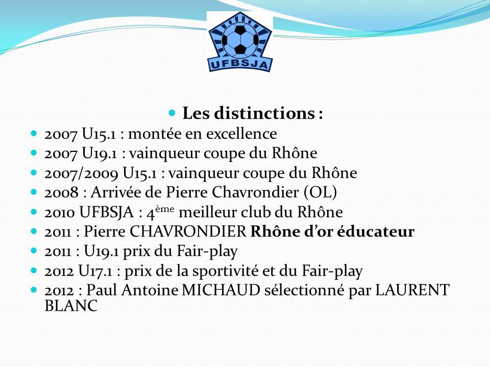 Les distinctions : 2007 U15.1 : montée en excellence 2007 U19.1 : vainqueur coupe du Rhône 2007/2009 U15.1 : vainqueur coupe du Rhône 2008 : Arrivée d