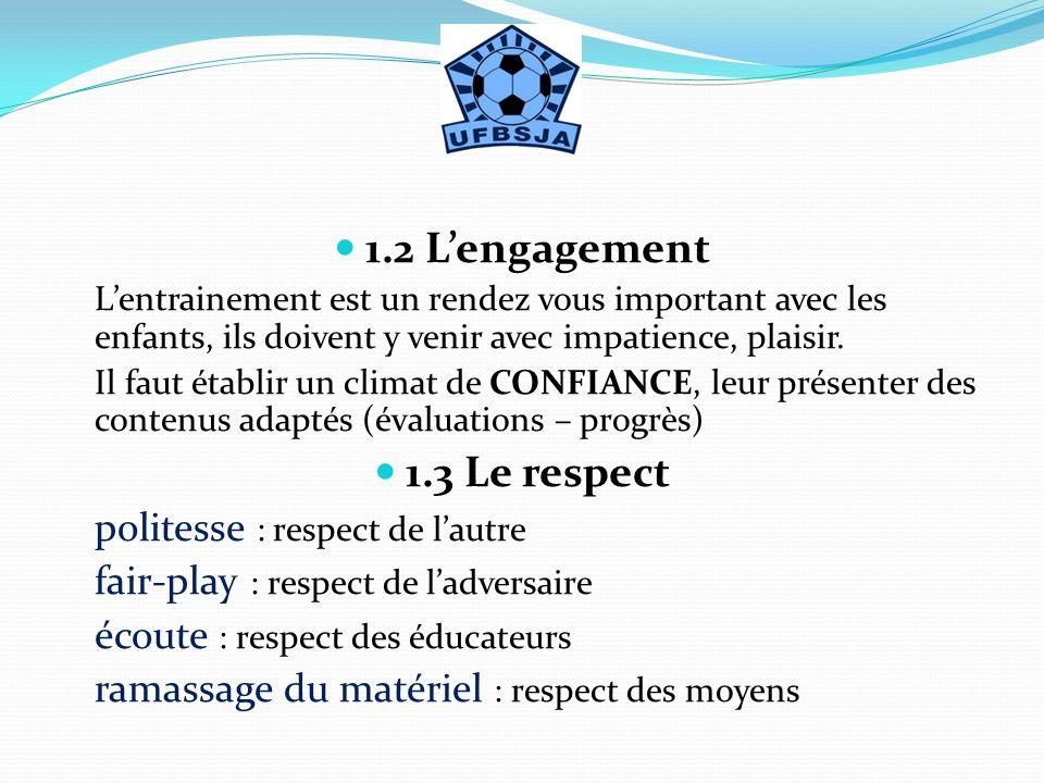1.2 Lengagement Lentrainement est un rendez vous important avec les enfants, ils doivent y venir avec impatience, plaisir. Il faut établir un climat d