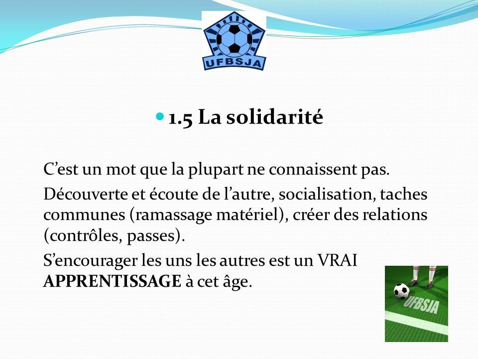 1.5 La solidarité Cest un mot que la plupart ne connaissent pas. Découverte et écoute de lautre, socialisation, taches communes (ramassage matériel),
