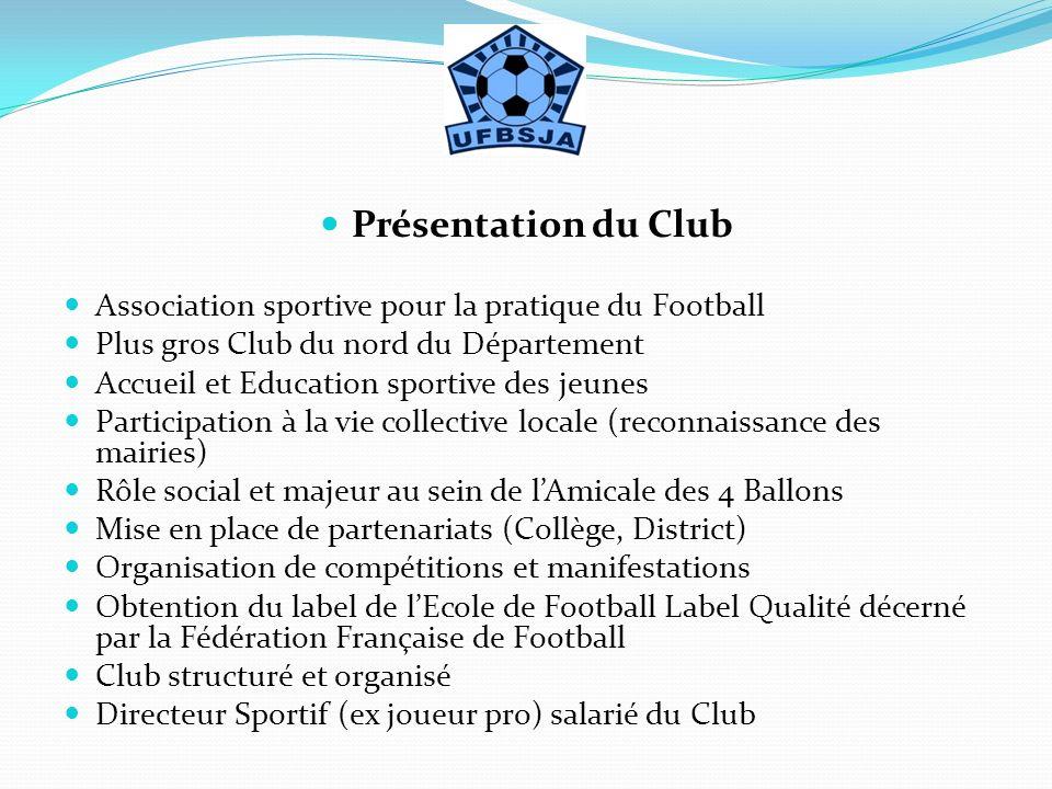 Présentation du Club Association sportive pour la pratique du Football Plus gros Club du nord du Département Accueil et Education sportive des jeunes