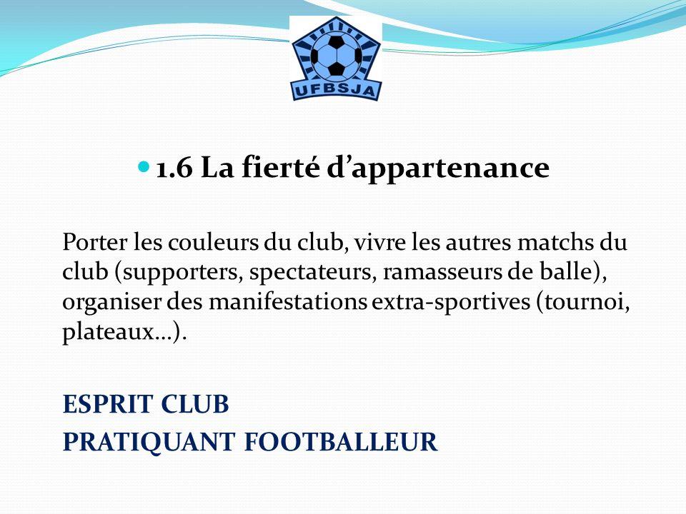1.6 La fierté dappartenance Porter les couleurs du club, vivre les autres matchs du club (supporters, spectateurs, ramasseurs de balle), organiser des