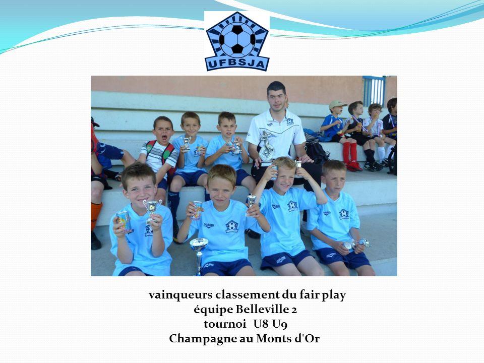 vainqueurs classement du fair play équipe Belleville 2 tournoi U8 U9 Champagne au Monts d'Or