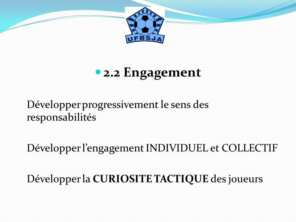 2.2 Engagement Développer progressivement le sens des responsabilités Développer lengagement INDIVIDUEL et COLLECTIF Développer la CURIOSITE TACTIQUE