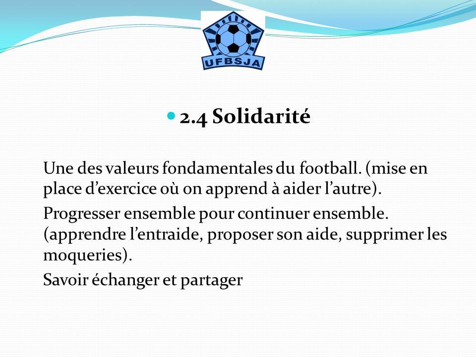 2.4 Solidarité Une des valeurs fondamentales du football. (mise en place dexercice où on apprend à aider lautre). Progresser ensemble pour continuer e