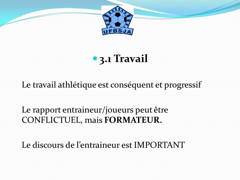 3.1 Travail Le travail athlétique est conséquent et progressif Le rapport entraineur/joueurs peut être CONFLICTUEL, mais FORMATEUR. Le discours de len