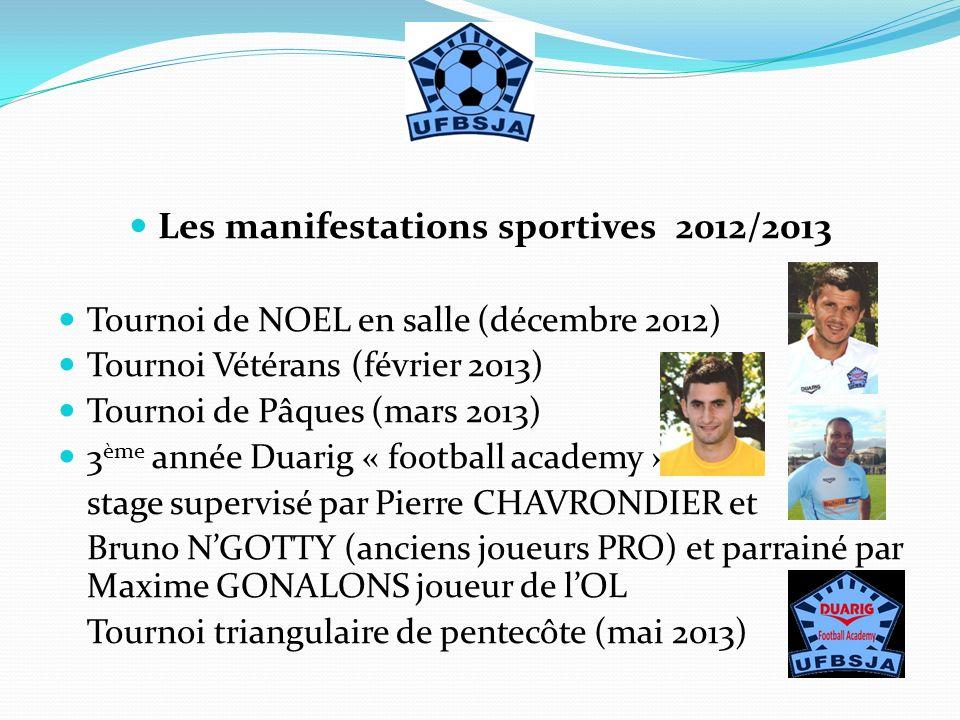 Les manifestations sportives 2012/2013 Tournoi de NOEL en salle (décembre 2012) Tournoi Vétérans (février 2013) Tournoi de Pâques (mars 2013) 3 ème an