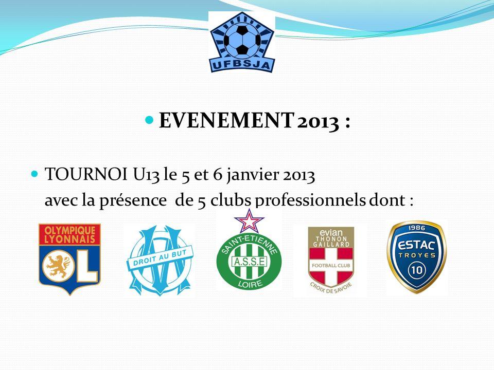 EVENEMENT 2013 : TOURNOI U13 le 5 et 6 janvier 2013 avec la présence de 5 clubs professionnels dont :