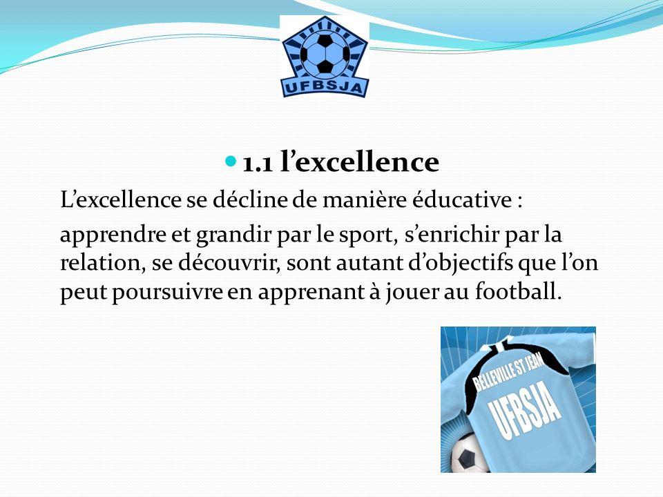 1.1 lexcellence Lexcellence se décline de manière éducative : apprendre et grandir par le sport, senrichir par la relation, se découvrir, sont autant