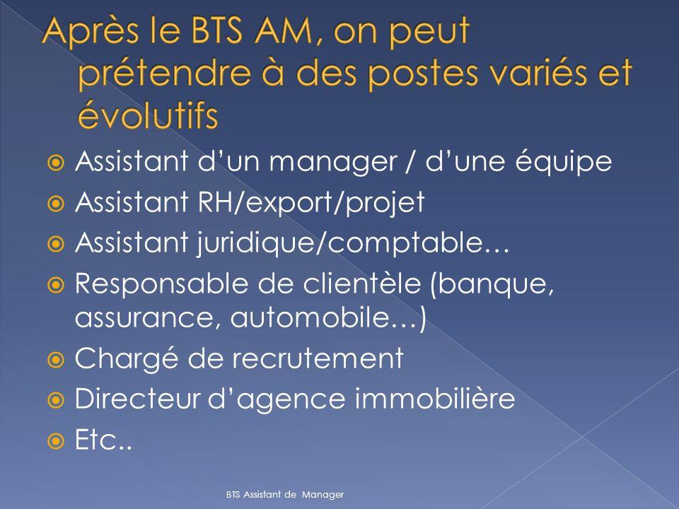 Assistant dun manager / dune équipe Assistant RH/export/projet Assistant juridique/comptable… Responsable de clientèle (banque, assurance, automobile…